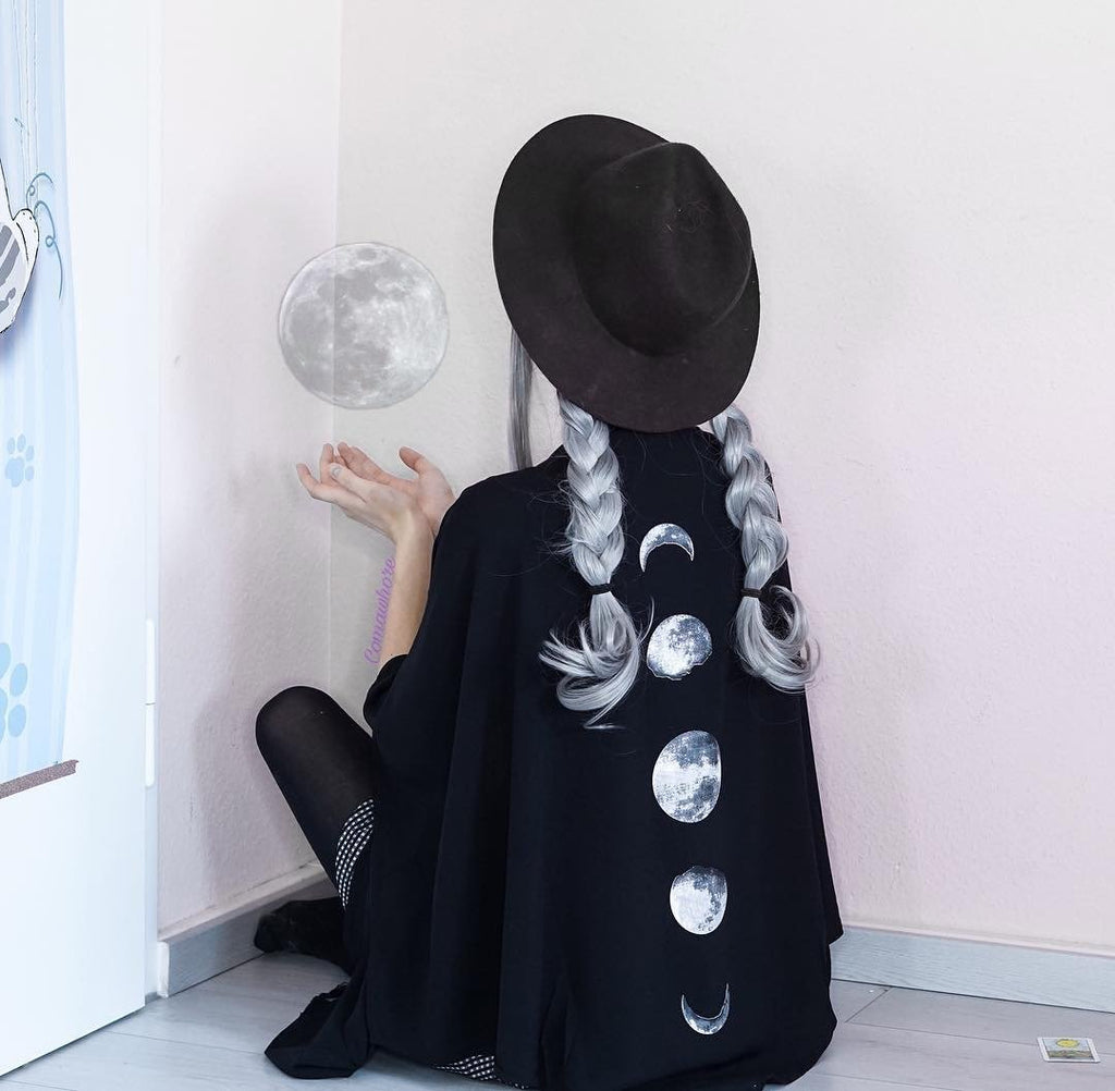 Women's Phases Of Moon Punk Cloak - Black Rabbit Store