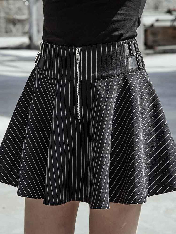 Women's Goth Retro Wave Stripe Pleated Skirt - Black Rabbit Store