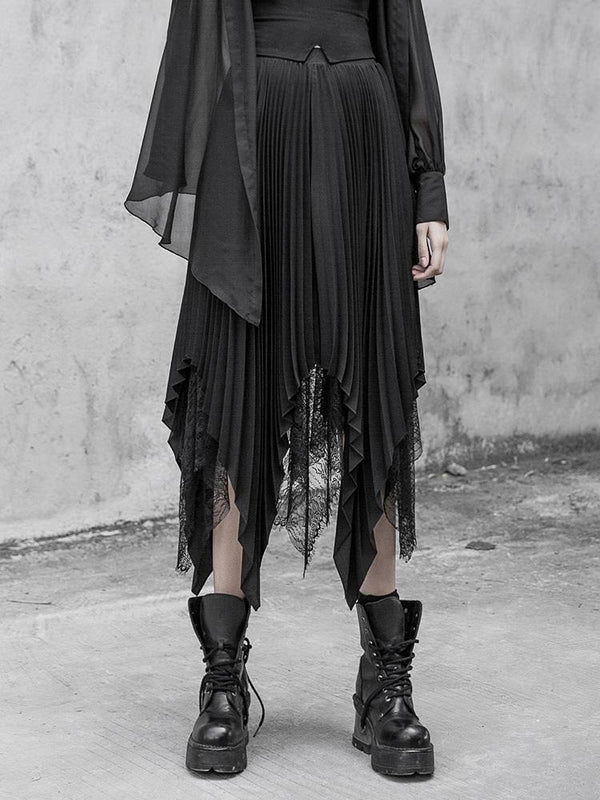Women's Goth Chiffon Lace Irregular Maxi Skirt - Black Rabbit Store
