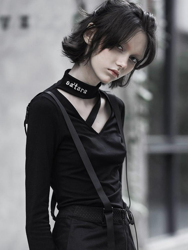 Women's Goth High Neck Straps Flare Sleeved T-shirts - Black Rabbit Store