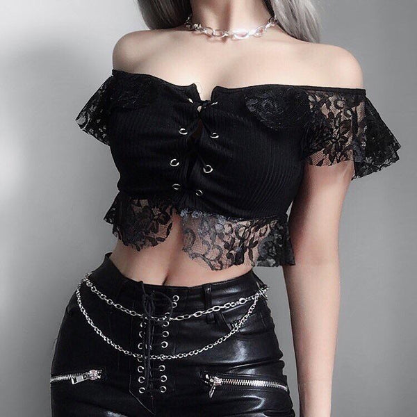 Women's Goth Floral Lace Crop Top - Black Rabbit Store