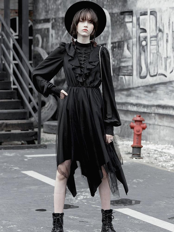 Women's Goth High Neck Lacing Long Sleeved Irregular Chiffon Dress - Black Rabbit Store