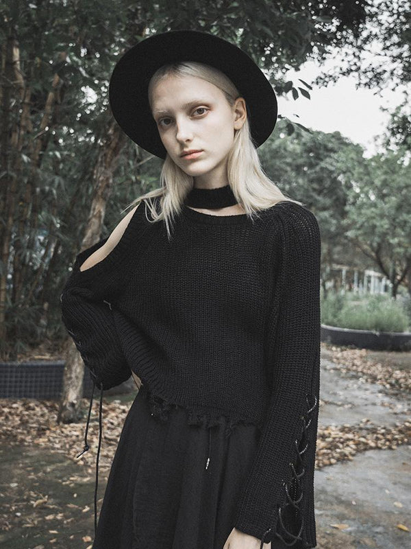 Women's Goth Sloping Shoulder Ripped Lacing Sleeved Loose Sweater - Black Rabbit Store