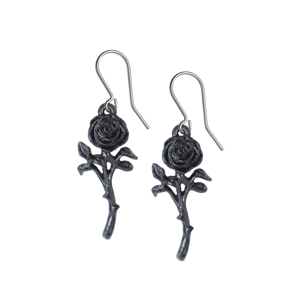 Alchemy Gothic The Romance of the Black Rose Earrings
