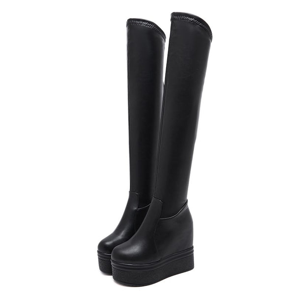 Over The Knee Platform Boots - BLACK RABBIT STORE