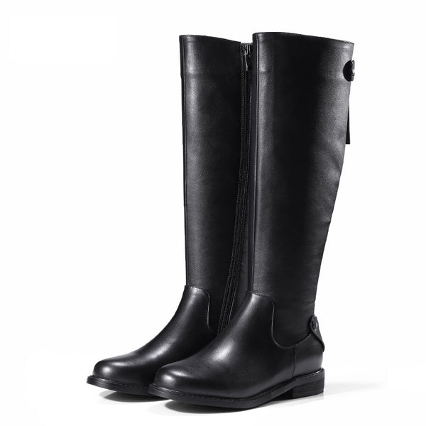 Elysium Knee High Genuine Leather Gothic Boots - BLACK RABBIT STORE