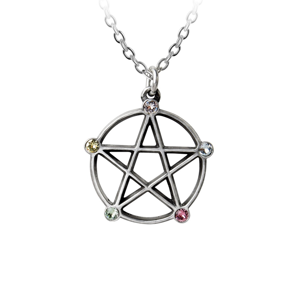 Alchemy Gothic Wiccan Elemental Pentacle Necklace - BLACK RABBIT STORE