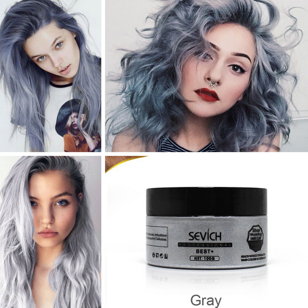 Insta-Hit Temporary Hair Color Wax for Gothic Cosplay Events - Gray