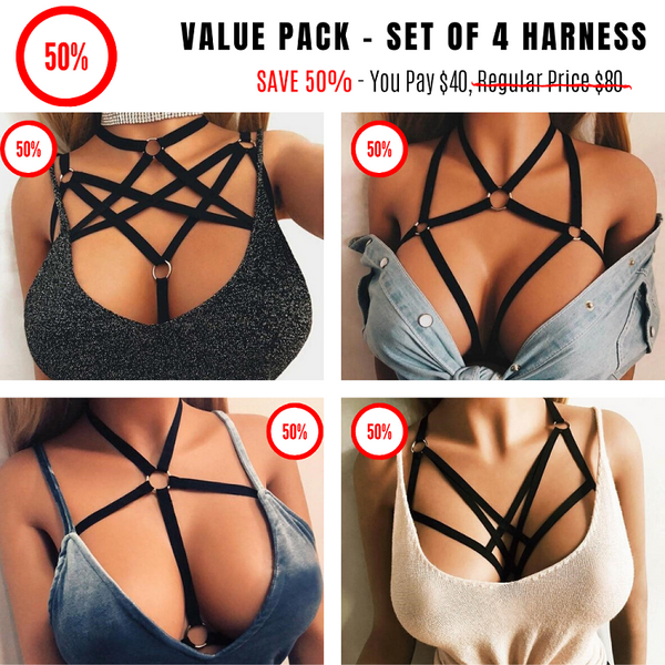 Amazing Goth Body Harness - Value Pack Set of 4