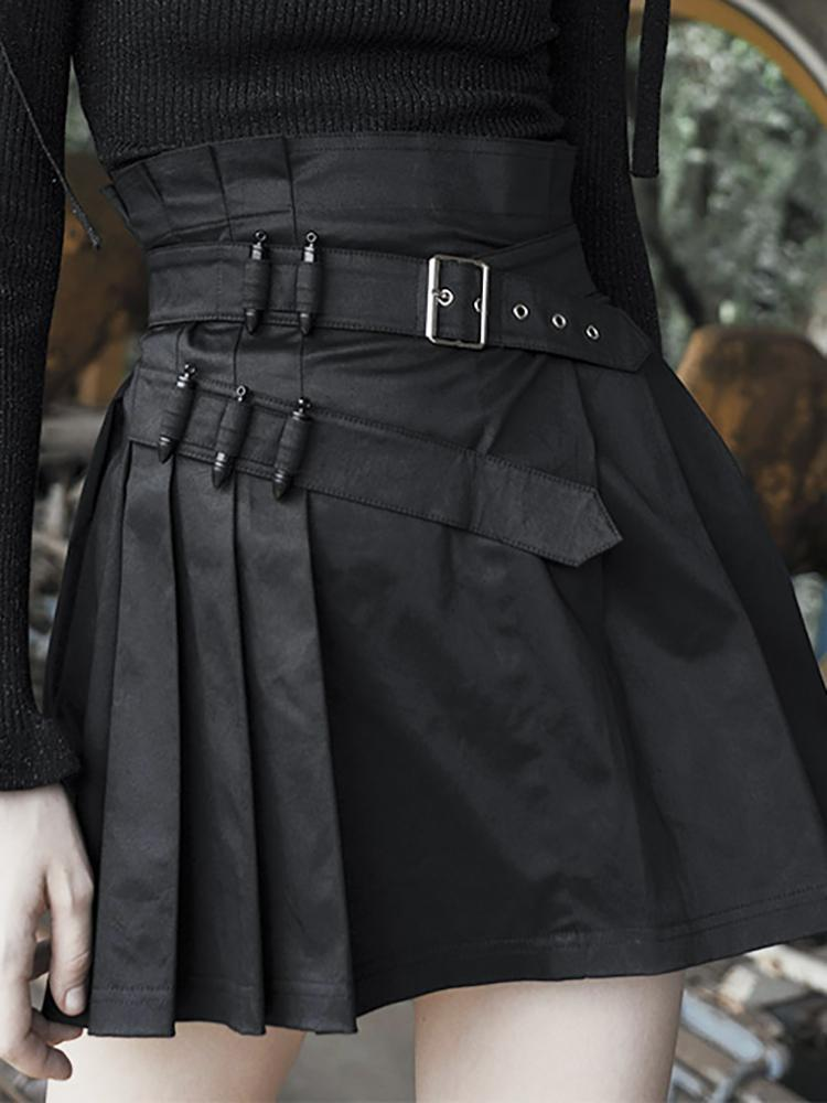 Women's Steampunk High-waisted Black Pleated Skirt - Black Rabbit Store