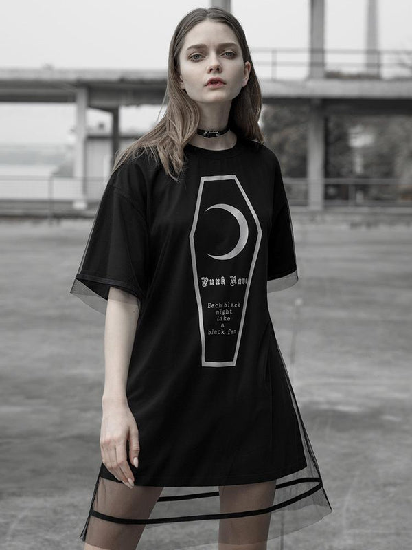 Women's Punk Loose Long T-Shirt Dress - Black Rabbit Store
