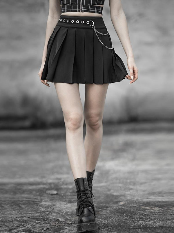 Women's Goth Chiffon Mini Pleated Skirt With Metal Chain Belt - Black Rabbit Store