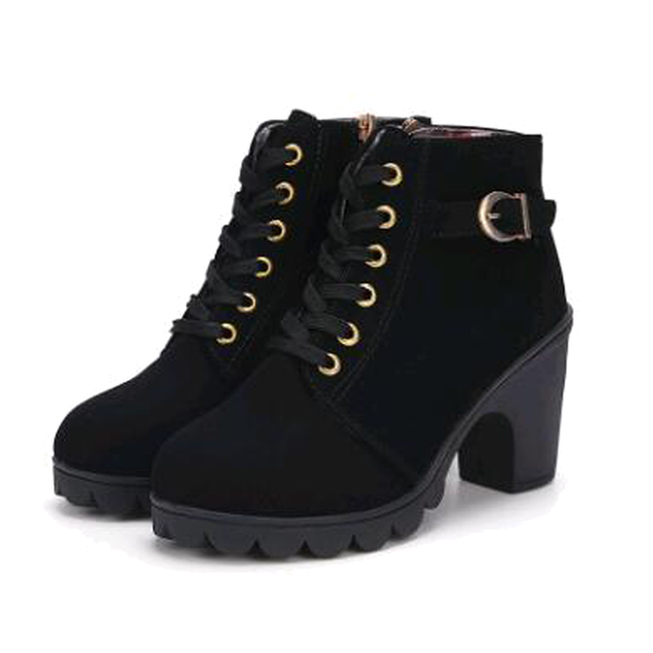 Camille Thick Heel Ankle Booties - BLACK RABBIT STORE