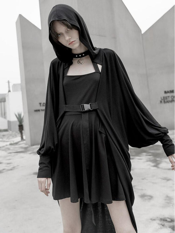Women's Grunge Moon Printed Hooded Casual Long Cape - Black Rabbit Store