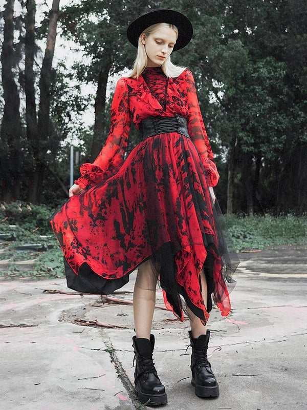 Women's Goth High Neck Lacing Long Sleeved Irregular Red Chiffon Dress - Black Rabbit Store