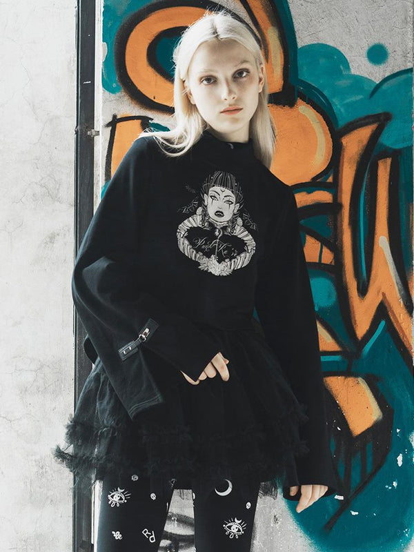 Women's Goth High Neck Witch Printed Casual Sweater - Black Rabbit Store