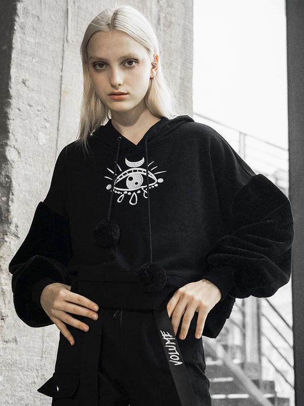 Women's Goth Tears Embroideried Casual Hoodies - Black Rabbit Store