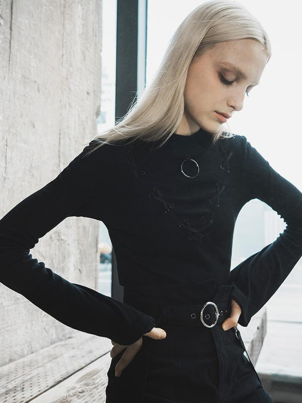 Women's Goth Lacing Flare Sleeved T-shirt - Black Rabbit Store