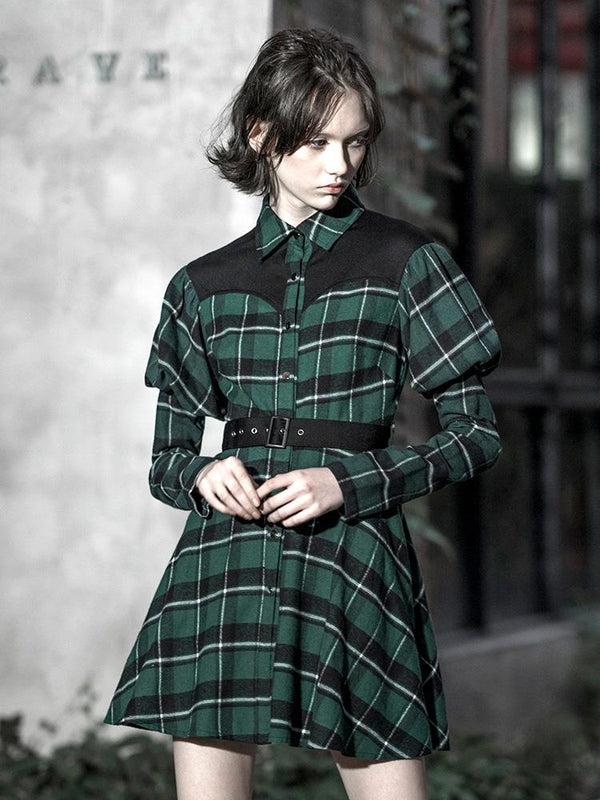 Women's Grunge Puff Sleeved Green Plaid Shirt Dress With Belt - Black Rabbit Store