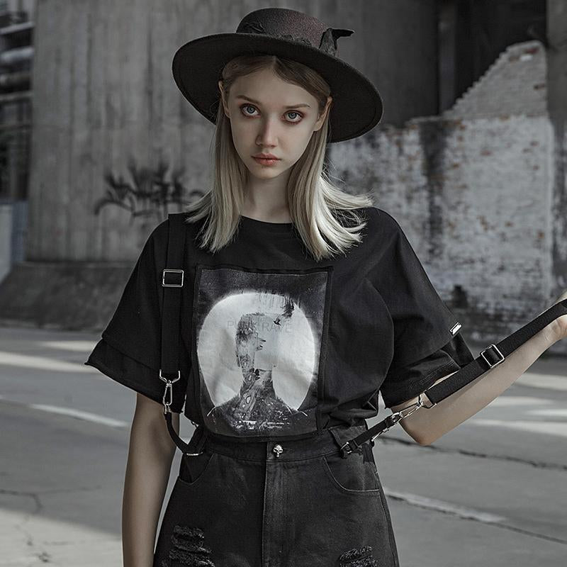 Women's Goth Loose Printed Black T-shirt - Black Rabbit Store