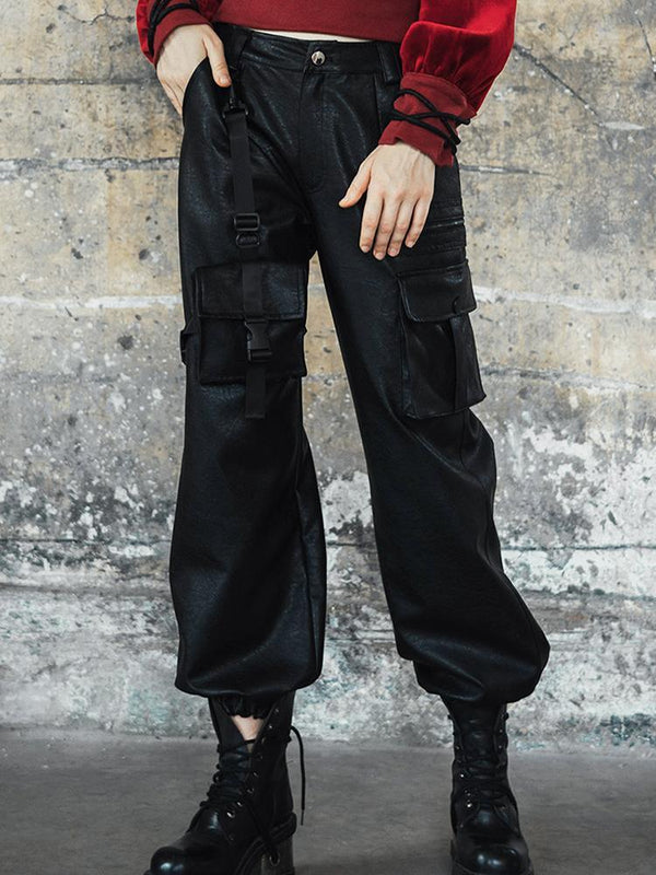 Women's Goth High-waisted Faux Leather Cargo Pants - Black Rabbit Store