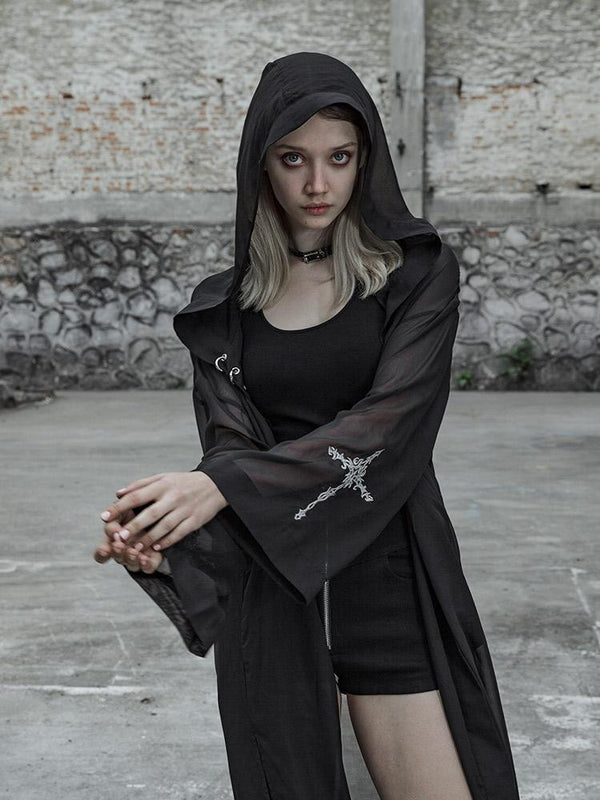 Women's Goth Chiffon Witchy Maxi Coat With Hood - Black Rabbit Store