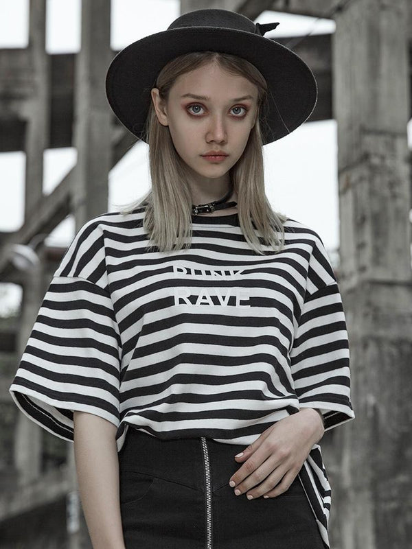 Women's Black&White Stripes Loose T-Shirt - Black Rabbit Store