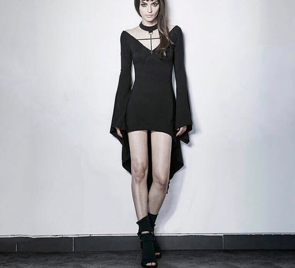 Dark Witch Sexy Asymmetrical Dress - BLACK RABBIT STORE