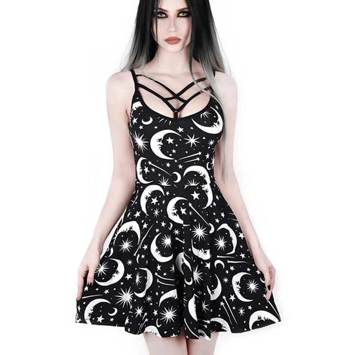 Moon Star Print Gothic Dress - BLACK RABBIT STORE