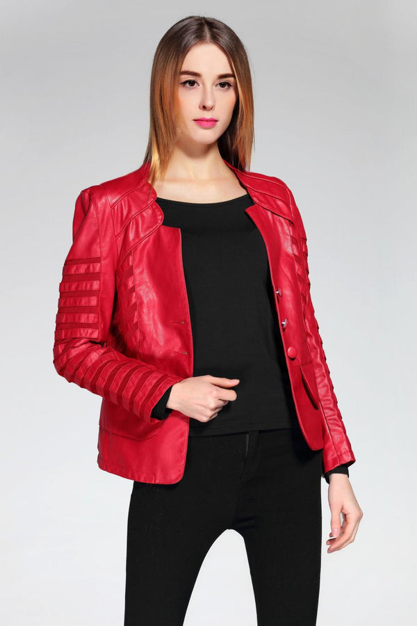 Ida Vegan Leather Designer Sleeves Red Biker Women Jacket