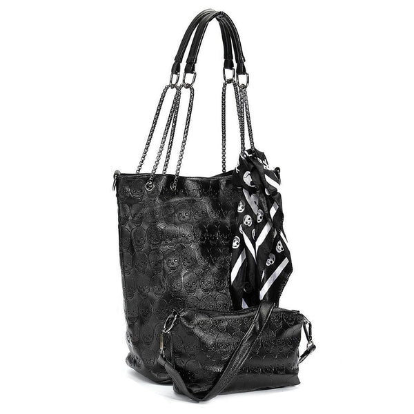 Imprinted Skull Women Handbag Cum Shoulder Bag