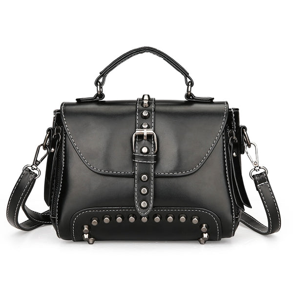 Black Riveted Cross-body Shoulder Bag