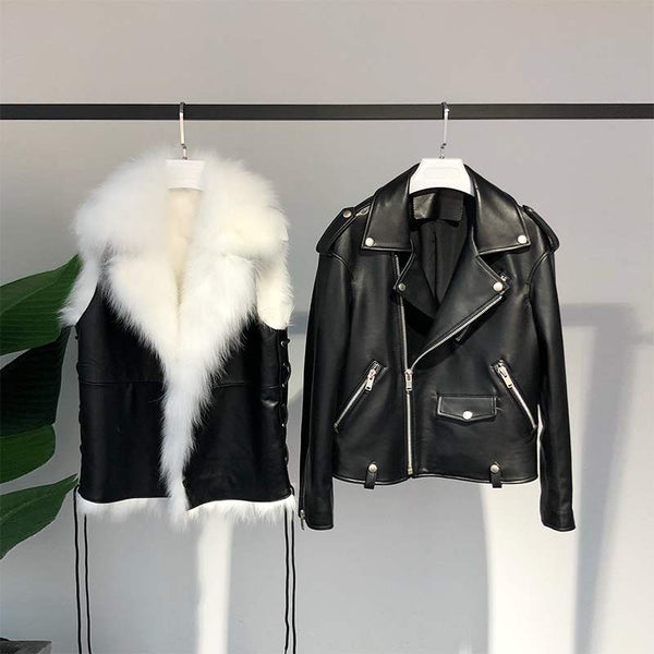 Snow-white Faux Fur Vest and Black Vegan Leather Jacket Combo