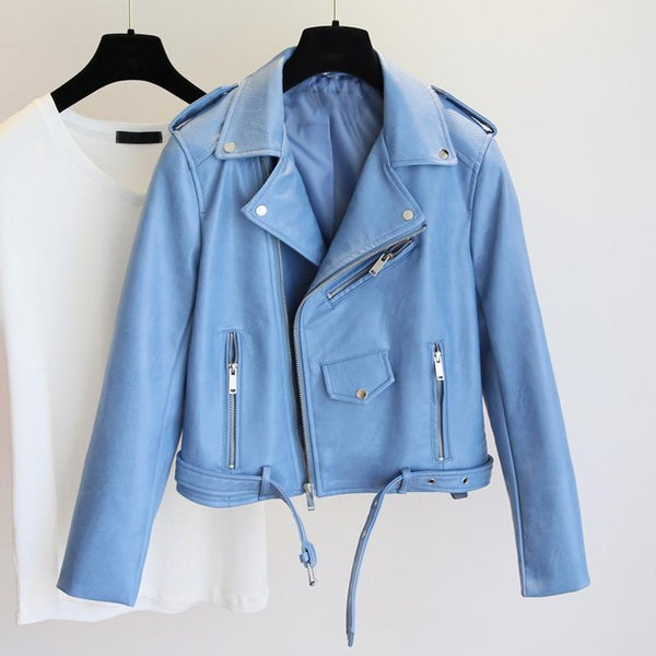 Aiden Vegan Leather Sky Blue Women Biker Jacket