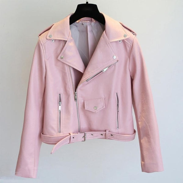 Aella Vegan Leather Baby Pink Women Biker Jacket