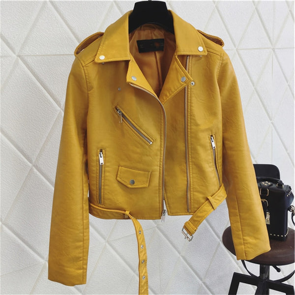 Lola Vegan Leather Bright Mustard Women Biker Jacket