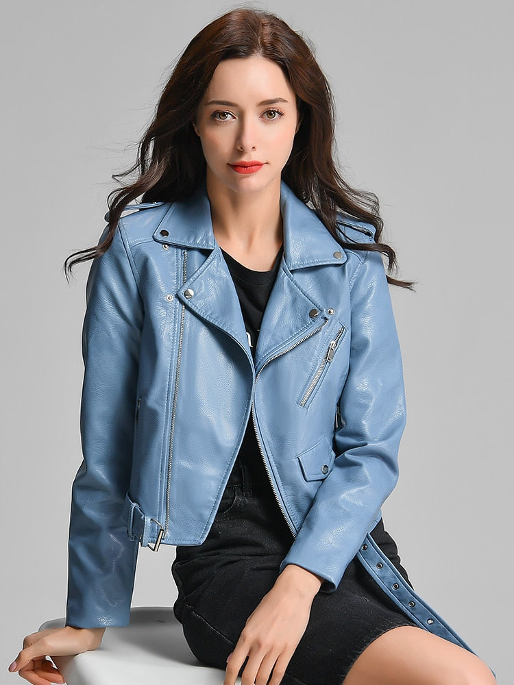 Nancy Vegan Leather Plus Sized Women Jacket - Blue