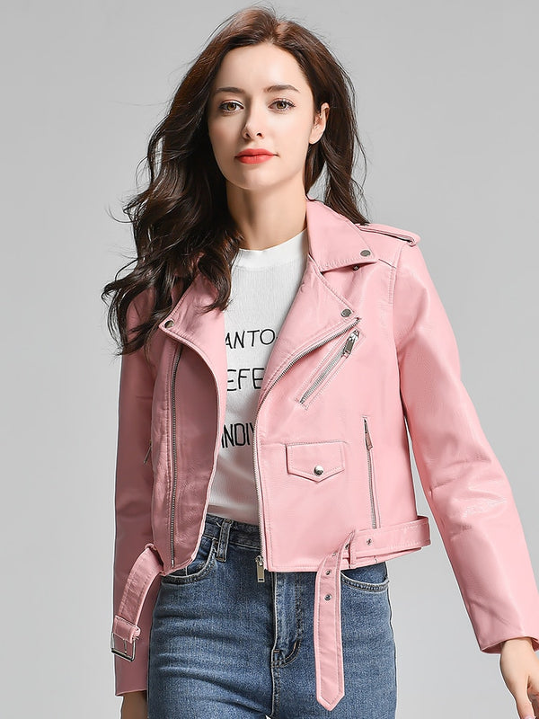 Nancy Vegan Leather Plus Sized Women Jacket - Pink