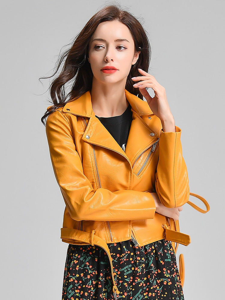 Nancy Vegan Leather Plus Sized Women Jacket - Yellow