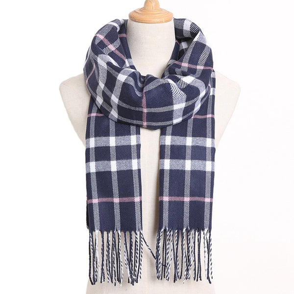 Cashmere Cotton Blends Plaid Winter Scarf for Women - Style 17