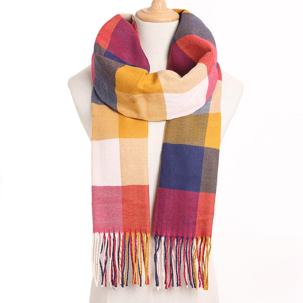 Cashmere Cotton Blends Plaid Winter Scarf for Women - Style 20