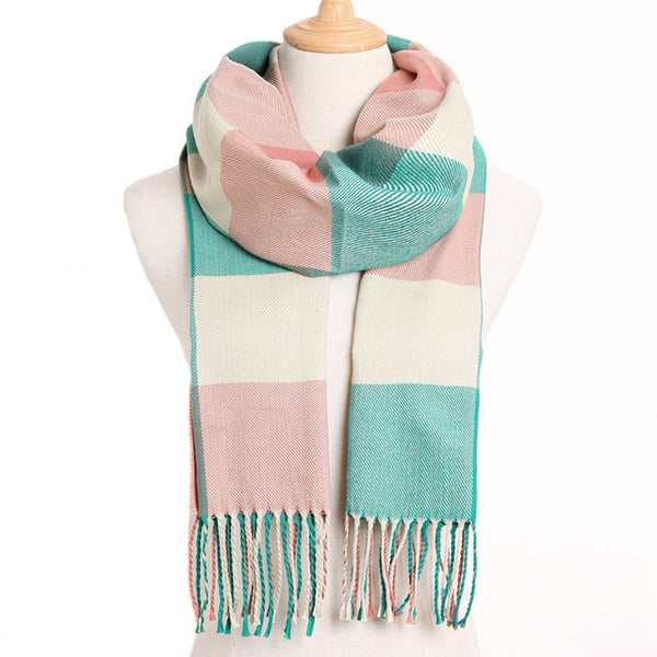 Cashmere Cotton Blends Plaid Winter Scarf for Women - Style 19