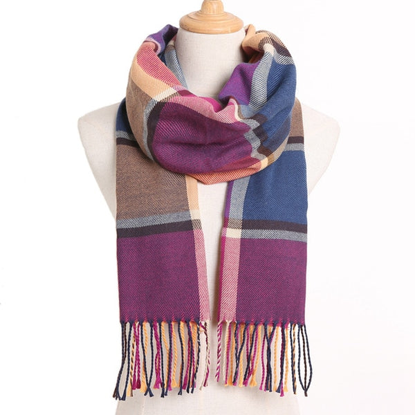 Cashmere Cotton Blends Plaid Winter Scarf for Women - Style 22