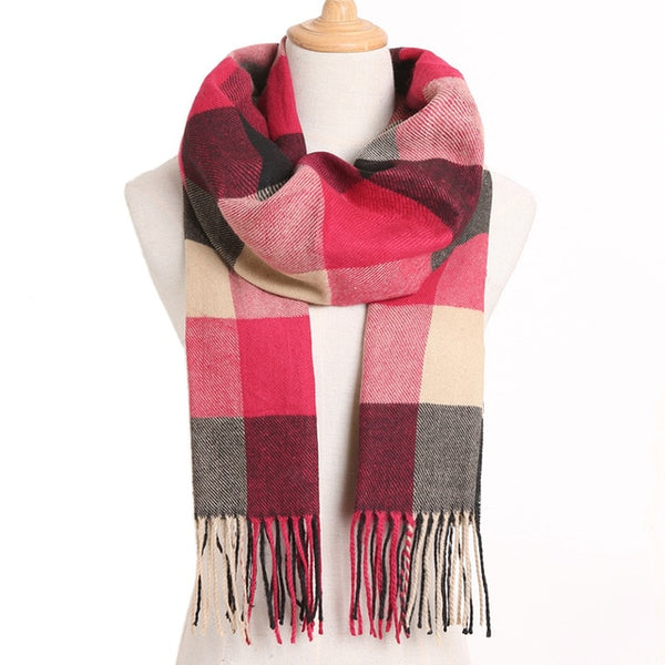 Cashmere Cotton Blends Plaid Winter Scarf for Women - Style 21