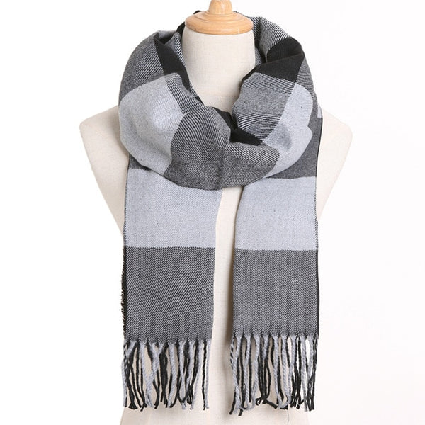 Cashmere Cotton Blends Plaid Winter Scarf for Women - Style 24