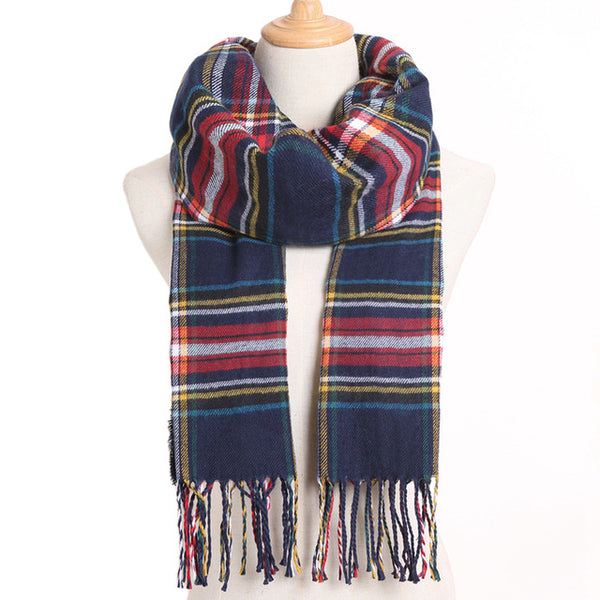 Cashmere Cotton Blends Plaid Winter Scarf for Women - Style 23