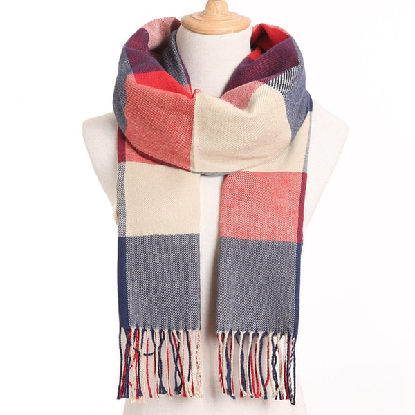 Cashmere Cotton Blends Plaid Winter Scarf for Women - Style 2