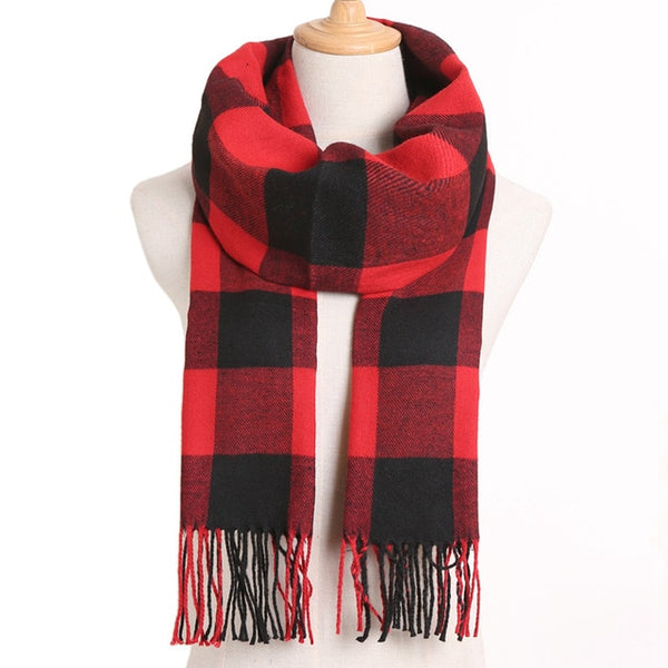 Cashmere Cotton Blends Plaid Winter Scarf for Women - Style 1