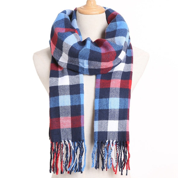 Cashmere Cotton Blends Plaid Winter Scarf for Women - Style 4