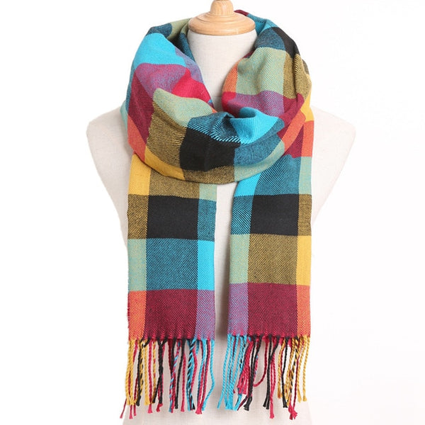 Cashmere Cotton Blends Plaid Winter Scarf for Women - Style 3